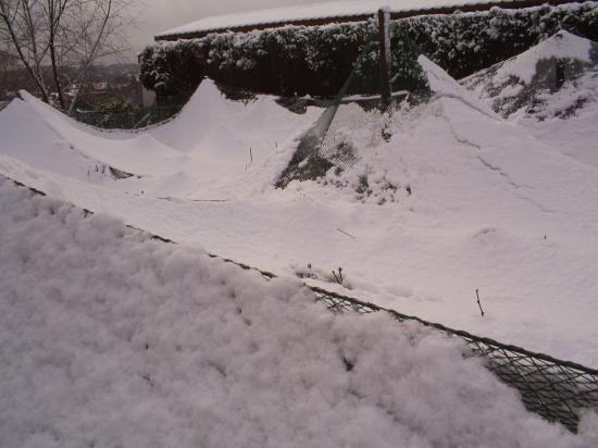 Les filets craquent sous le poids de la neige